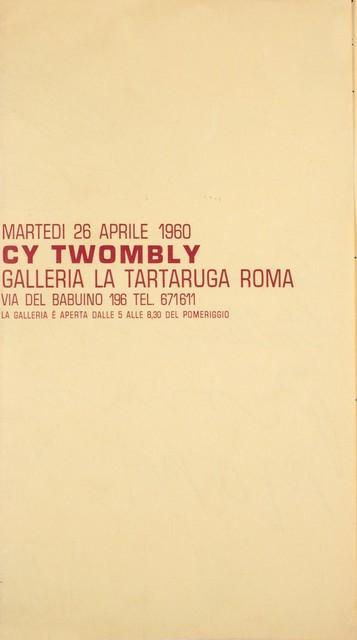 Cy Twombly, 'Solo exhibition', 1960, Finarte