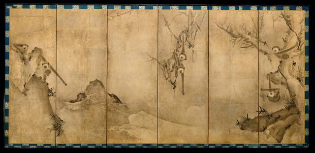 Sesson Shūkei, 'Gibbons in a Landscape (猿猴捉月図屏風)', ca. 1570, The Metropolitan Museum of Art