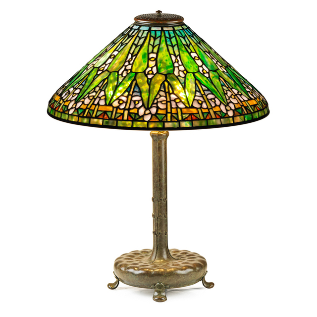 Tiffany Studios, 'Fine Arrowroot Shade On Associated Reproduction Base, New York', Early 20th C., Rago/Wright