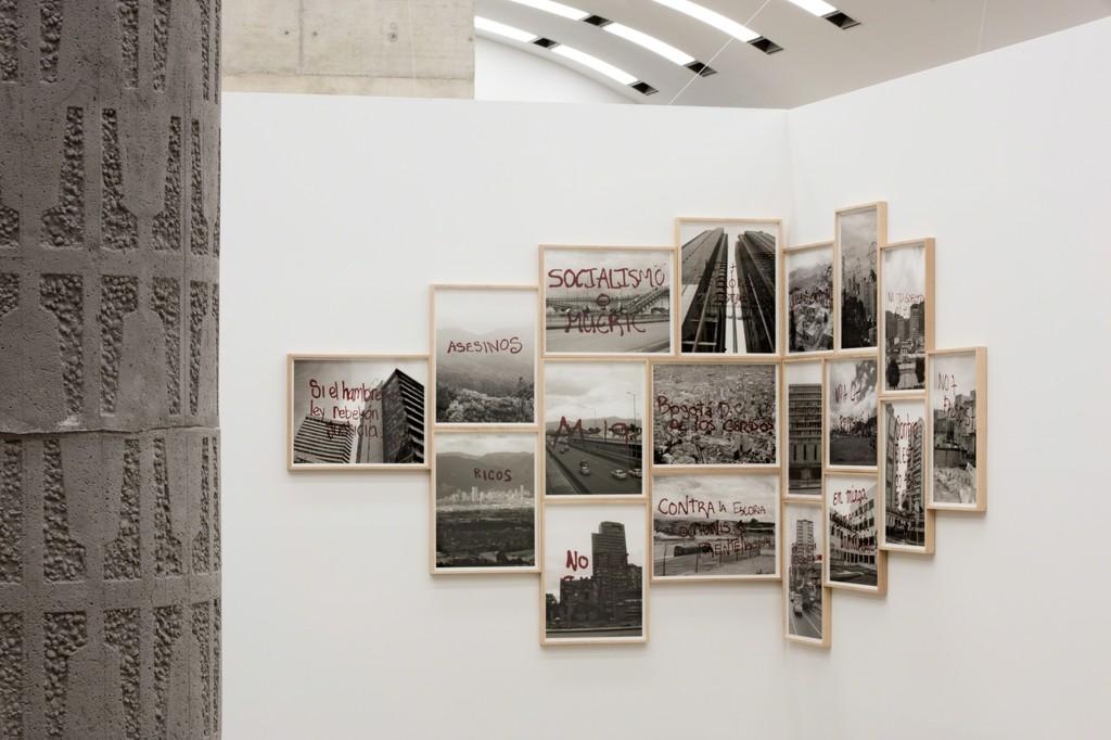 Installation view: Béton, Kunsthalle Wien 2016, Photo: Stephan Wyckoff: Tercerunquinto, Gráfica reportes de condición, 2010–2016, Courtesy the artist and Proyectos Monclova, Mexico City