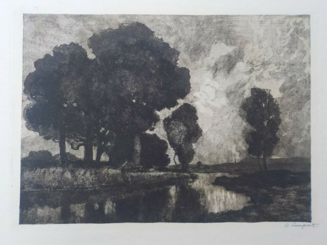 Otto Gampert, 'Eichengruppe am Bach', ca. 1900, Print, Etching and aquatint, Sylvan Cole Gallery