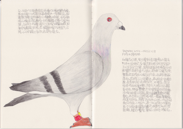 Lee Lichung, 'Pigeon - TAIWAN 2016-0450321', 2018, Drawing, Collage or other Work on Paper, Color pencil, Recycled paper notebook, Powen Gallery