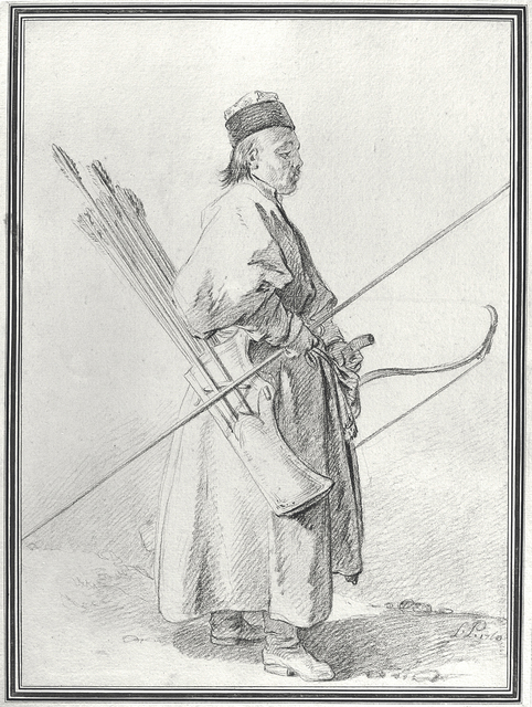Jean-Baptiste Le Prince, 'Calmouk Archer', 1760, Drawing, Collage or other Work on Paper, Black pencil and brown pencil, Didier Aaron