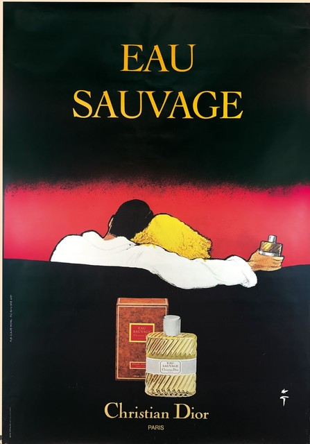 René Gruau, 'EAU SAUVAGE', ca. 1980, Posters, Nice poster. Gruau had a long career with the Maison Dior; and this is one of his best works., Cambi
