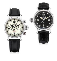 A lot of two stainless steel aviator-style wristwatches with guarantees