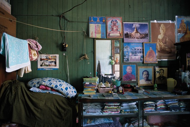 , '12_Still Life with family portraits,  folded longyis and the Schwedagon Pagoda,' 2011, Art Vietnam Gallery