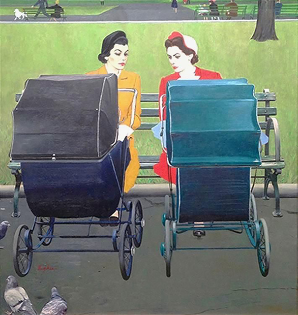 George Hughes, ' Two Women with Baby Carriages ', 1950, The Illustrated Gallery