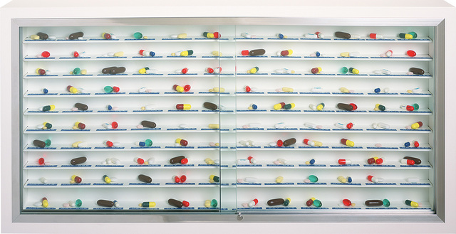 Damien Hirst, 'Day by Day', 2003, Other, Glass, painted MDF, aluminium, stainless steel, Dymo tape and pills, Phillips