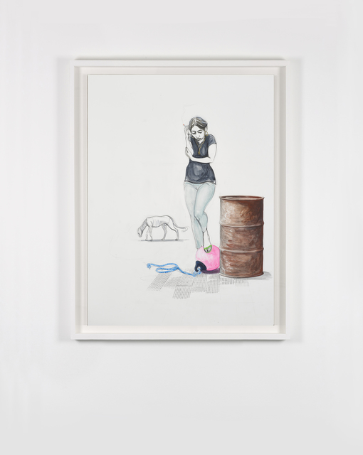 Charles Avery, 'Untitled (Smoking girl with Buoy)', 2020, Drawing, Collage or other Work on Paper, Pencil, acrylic and ink on paper mounted on linen, GRIMM