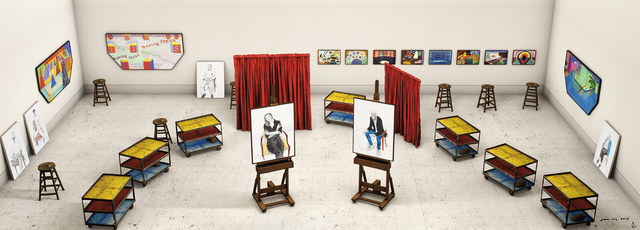 David Hockney, 'Seven Trollies, Six and a Half Stools, Six Portraits, Eleven Paintings, and Two Curtains', 2018, Galerie Lelong & Co.