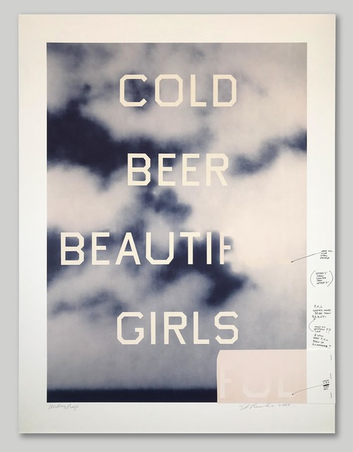 Ed Ruscha, 'Cold Beer Beautiful Girls', 2009, Print, Hand-Pulled Color Lithograph on Paper, Approximately Blue