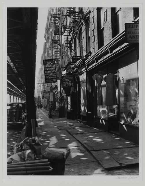 "Berenice Abbott, 'The ""El,"" with dress shops', 1930s, Doyle"