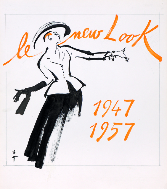 René Gruau, 'Le New Look, Maison Christian Dior', Drawing, Collage or other Work on Paper, Indian ink and gouache on paper, Alexis Pentcheff