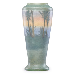 Tall Banded Scenic Vellum vase with palm trees, Cincinnati, OH