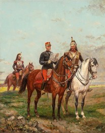 A Cavalry Officer Escorted by Two Cuirassiers