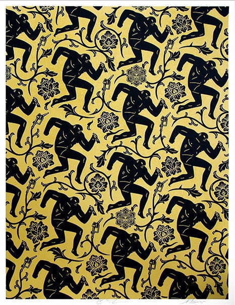 Cleon Peterson, 'Pattern of Corruption (Black/Gold) - Collab with Shepard Fairey', 2015, Black Book Gallery