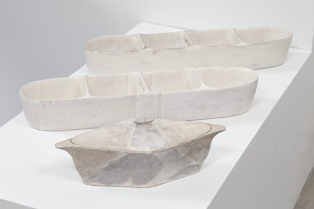 , 'Lidded Diamond Server, Large Partitioned Trough (white stripes), Large Partitioned Trough,' 2016, Jane Hartsook Gallery