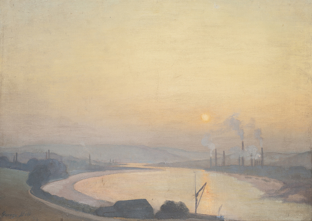 George Frederick Henry Bell, '(Factories at Sunset)', 1912, Painting, Oil on canvas, Charles Nodrum Gallery
