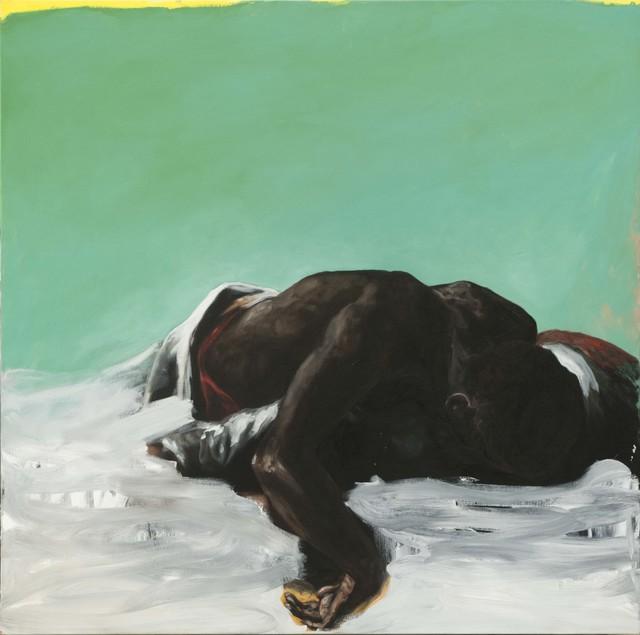 , 'Allongé, fond vert et jaune,' 2014, Isabelle Gounod