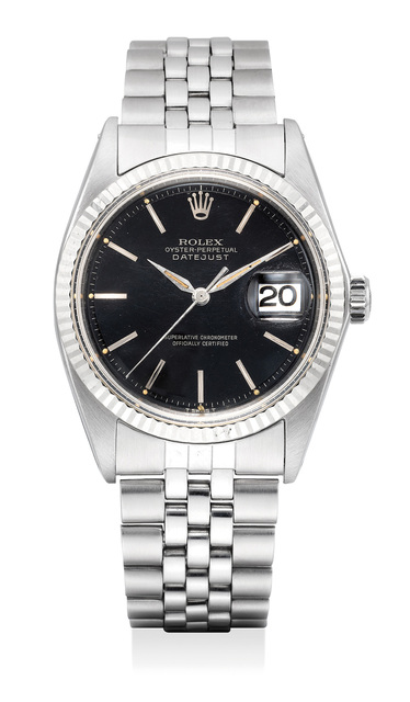 Rolex, 'A fine and attractive stainless steel wristwatch with black lacquered dial, date, bracelet and box', 1970, Phillips