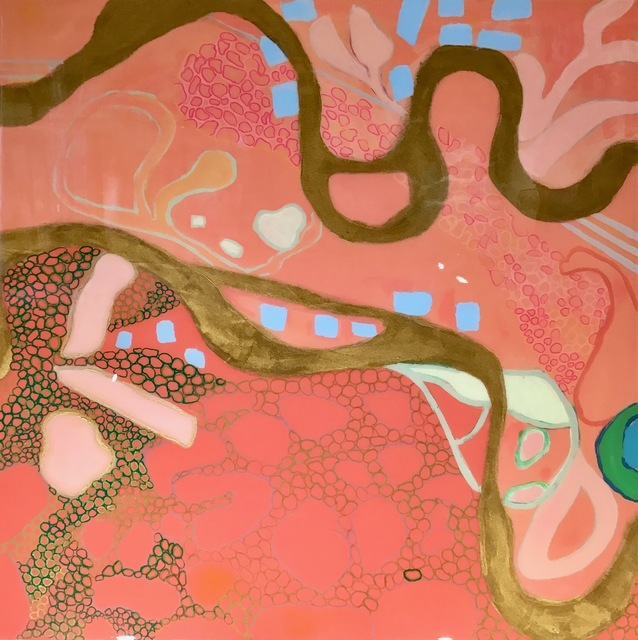 "Anne Harney, '""Philbin Beach Walk 3"" abstract mixed media painting with coral, gold, turquoise and resin finish', 2019, Painting, Acrylic and Resin on Panel, Eisenhauer Gallery"