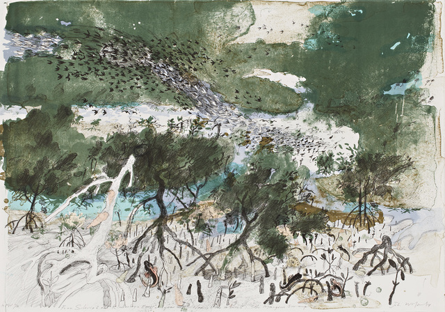 , 'From Siberia to the Kimberley - Each year the Wading birds return to the Mangrove Swamp,' 2012, Australian Print Workshop