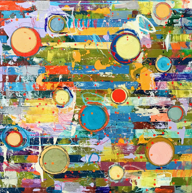 """, '""""Fibonacci 383"""" Abstract mixed media painting in Bright Yellow, Green, Blue, Turquoise and Red,' 2010-2018, Eisenhauer Gallery"""