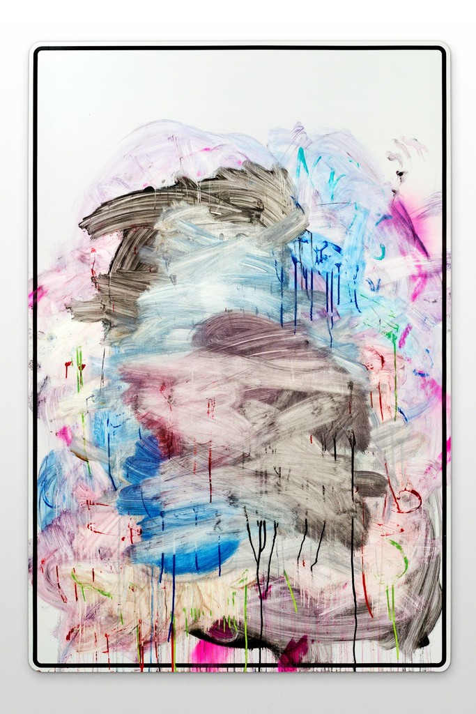 Jason REVOK - Anti-Painting (In Memory Of/Afterlife 1) (2014) Acrylic, oil enamel, and graffiti remover on aluminum, mounted to steel powder-coated frame 60h x 48w in (152.4h x 121.92w cm)