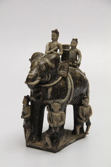 Unknown Artist, 'Elephant figurine with riders in brown glaze', ca. 14th-16th century, Ayala Museum