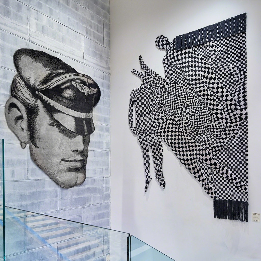 Installation of art carpets by TOM OF FINLAND and Olaf Breuning at JOYCE