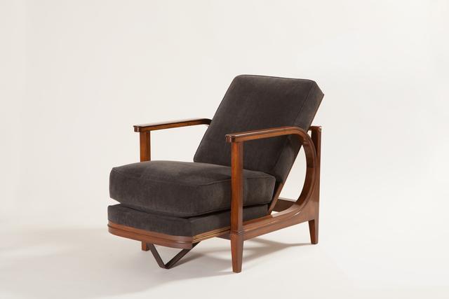 Eugène Printz, 'Armchair with sliding seat and back', circa 1930, Design/Decorative Art, Walnut, patinated brass, Galerie Dutko