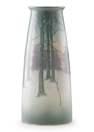 Large winter Scenic Vellum vase, Cincinnati, OH
