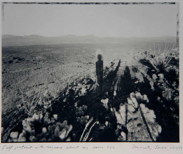 Mark Klett, 'Self Portrait with Saguaro About My Same Age', 1999, Photography, Platinum print, ClampArt