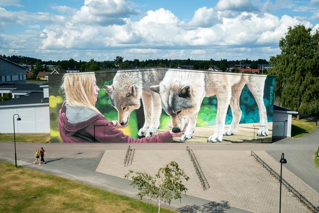 "BK FOXX, '""Neighbors"" mural in Forshaga, Varmland, Sweden ', 2017, Woodward Gallery"