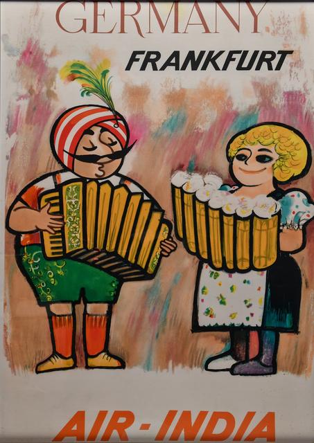 Vintage Travel Poster, 'Air India, Frankfurt', c. 1950's, Kapoor Galleries / Graham Shay 1857