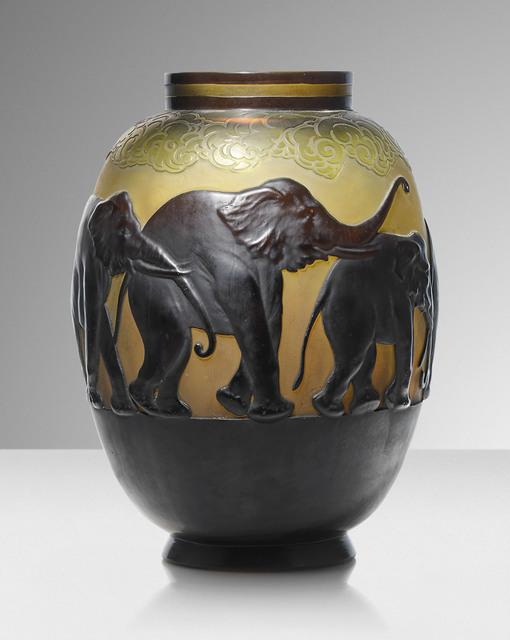 Galle, ''Vase aux éléphants', a mould blown vase', circa 1925, Design/Decorative Art, Overlaid and acid etched cameo glass, Christie's