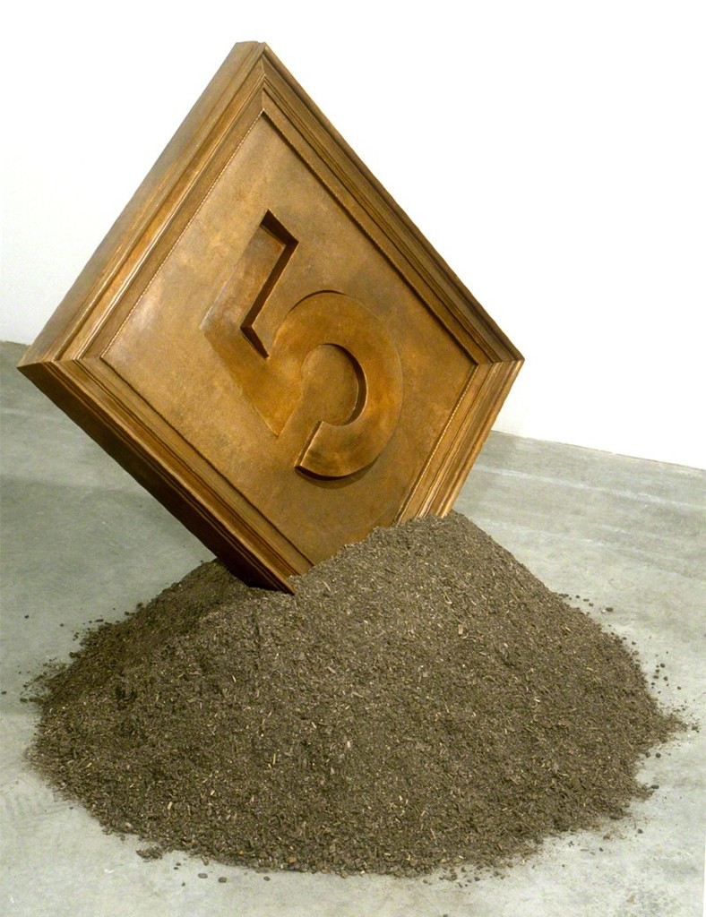 Jonathan Borofsky, 5, 1993. Copper, soil. Edition of 8. 40 X 45 X 40 inches.