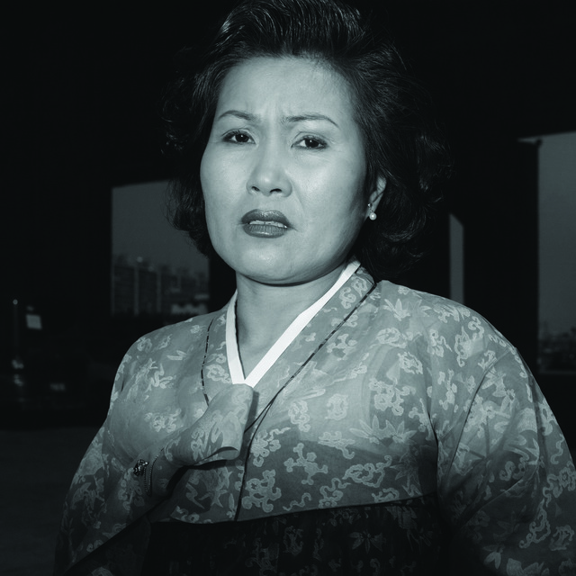 , 'Ajumma wearing a jade green Korean traditional dress, March 27 ,' 1997, CHOI&LAGER
