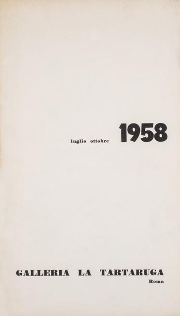Luglio, 'ottobre 1958-Two group show', 1958, Finarte