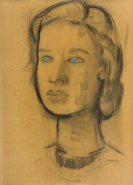 Giuseppe Ajmone, 'A woman's face', 1955, Drawing, Collage or other Work on Paper, Mixed media on paper, ArtRite