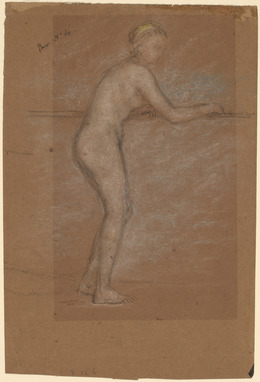 James Abbott McNeill Whistler, 'Nude Leaning on a Rail [recto]', 1871/1874, Drawing, Collage or other Work on Paper, Chalk and pastel on brown paper, National Gallery of Art, Washington, D.C.