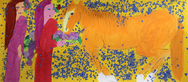 , 'Two Ladies with a Horse of Tangerine Colour 兩位女士與橘紅色的馬 ,' 1990s, Alisan Fine Arts