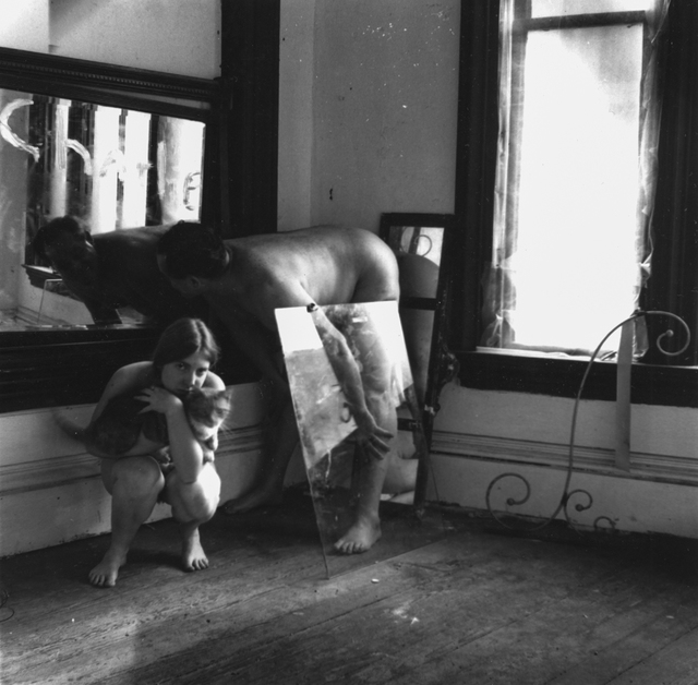 , 'Untitled (Self-portrait with Cat and Charlie), Providence, Rhode Island,' 1976-1977, Robert Klein Gallery