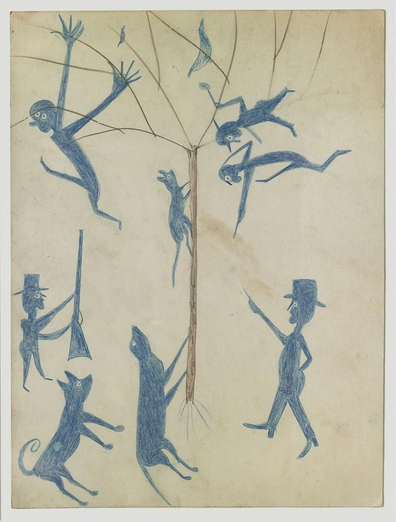 Bill Traylor, Untitled, ca. 1939–1942, colored pencil on cardboard. Collection of Jan Petry andAngie Mills. Photograph © John A. Faier