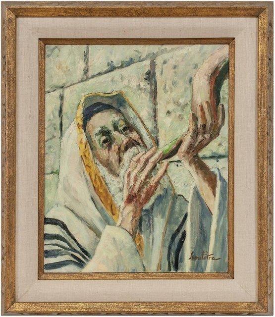 Savu Petra Dan, 'Judaica Painting Blowing Shofar at the Western Wall', Mid-20th Century, Lions Gallery