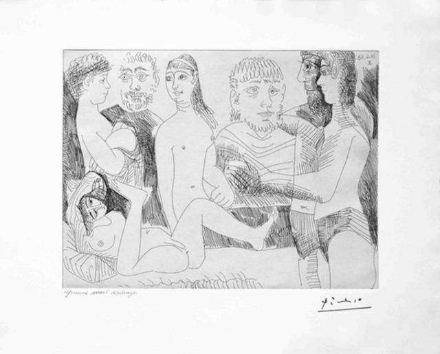 Pablo Picasso, 'Femme Faisant la Sieste, Entouree de Spectateurs, from the 347 Series, 10 June, 1968, Mougins', 1968, Print, Etching, Dawson Cole Fine Art