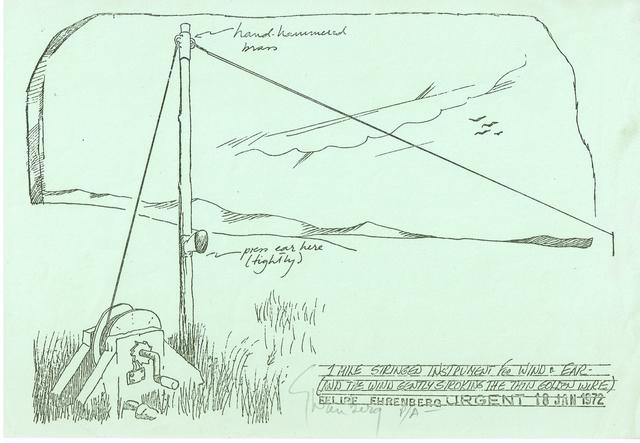 , '1 mile stringed instrument for Wind & Ear,' 1972, Baró Galeria