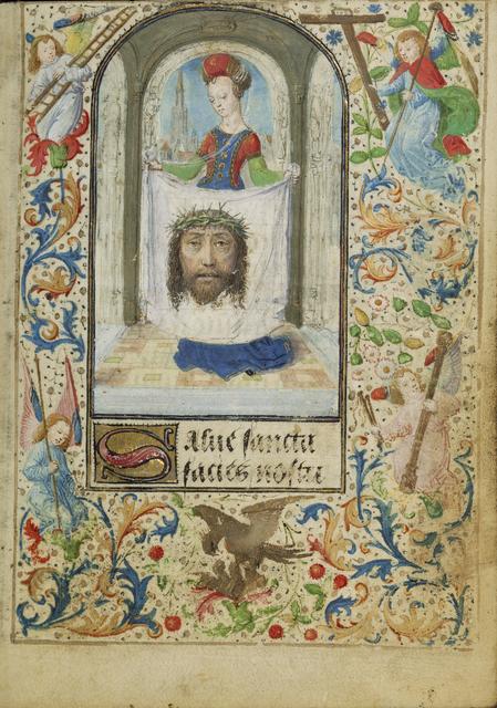 Lievan van Lathem, 'Saint Veronica', 1471, Tempera colors, gold leaf, gold paint, silver paint, and ink on parchment, J. Paul Getty Museum