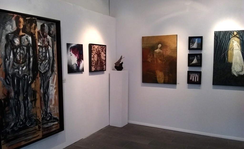 Works shown by: Omari Booker, Marilyn Garrett, Holly Scoggins, and Jeanie Tomanek.