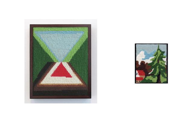 , 'abeto con cabañas y montañas de fondo,' 2013, Wu Galeria